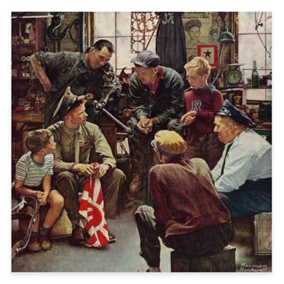 Norman Rockwell Homecoming Marine 18-Inch x 18-Inch Canvas Wall Art