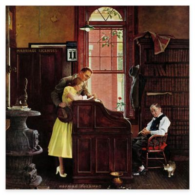 Norman Rockwell Marriage License 24-Inch x 24-Inch Canvas Wall Art