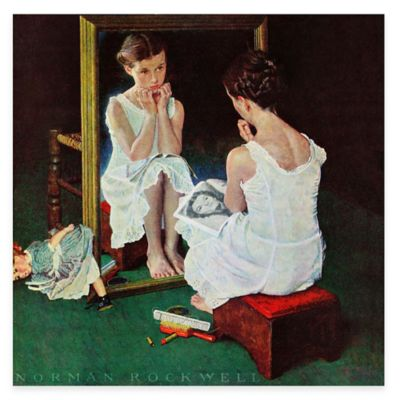 Norman Rockwell Girl at the Mirror 18-Inch x 18-Inch Canvas Wall Art