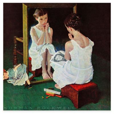 Norman Rockwell Girl at the Mirror 40-Inch x 40-Inch Canvas Wall Art