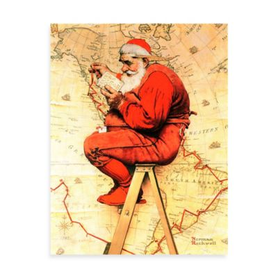 Norman Rockwell Santa at the Map 24-Inch x 31-Inch Canvas Wall Art