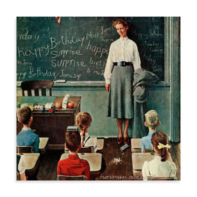 Norman Rockwell Happy Birthday Miss Jones 18-Inch x 18-Inch Canvas Wall Art