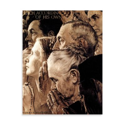 Norman Rockwell Freedom of Worship 30-Inch x 39-Inch Canvas Wall Art