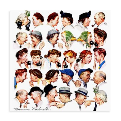 Norman Rockwell Chain of Gossip 40-Inch x 40-Inch Canvas Wall Art