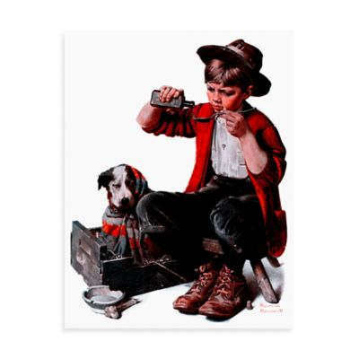 Norman Rockwell Sick Puppy 30-Inch x 39-Inch Canvas Wall Art