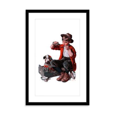 Norman Rockwell Sick Puppy 12-Inch x 18-Inch Framed Print Wall Art