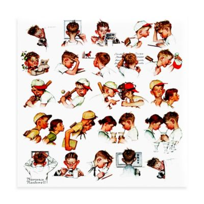 Norman Rockwell A Day in the Life of a Boy 24-Inch x 24-Inch Canvas Wall Art