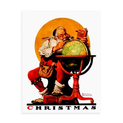 Norman Rockwell Santa at the Globe 30-Inch x 39-Inch Canvas Wall Art