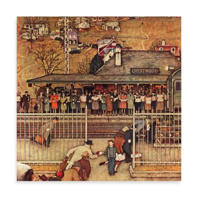 Norman Rockwell Commuters 40-Inch x 40-Inch Canvas Wall Art