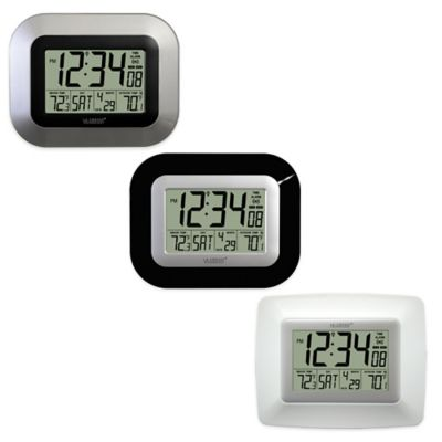 La Crosse Technology Atomic Digital Clock with In/Outdoor Temperature in Silver