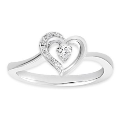 Sterling Silver .11 cttw Diamond Size 7 Ladies' Miniature Heart Ring