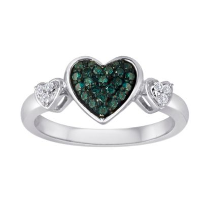 Sterling Silver .20 cttw Blue and White Diamond Size 9 Ladies' Triple Heart Ring