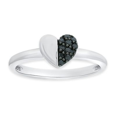 10K White Gold .13 cttw Black Diamond Size 8 Ladies' Half Heart Ring