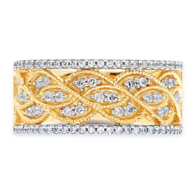 10K Yellow Gold .50 cttw Diamond Size 9 Ladies' Woven Miligrain Band