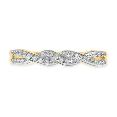 10K Yellow .17 cttw Diamond Size 5 Ladies' Petite Twisted Band