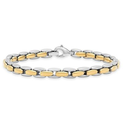 Stainless Steel Two-Tone 8.5-Inch Men's Link Bracelet