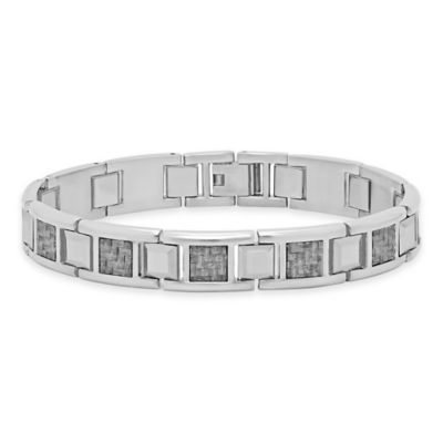 Stainless Steel and Tungsten Men's 12.17mm White Carbon Fiber Inlay Link Bracelet