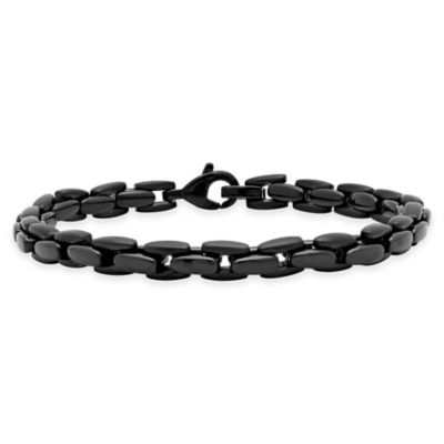 Black Ion-Plated Stainless Steel Mens Jewelry