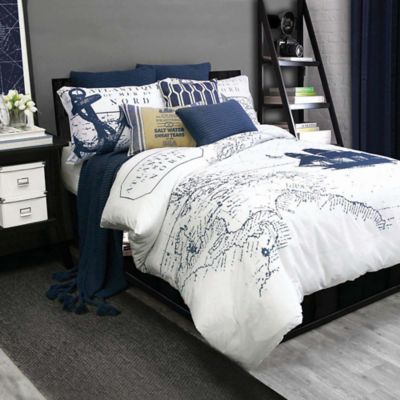 Shelburne Full/Queen Duvet Cover Set in Navy/White