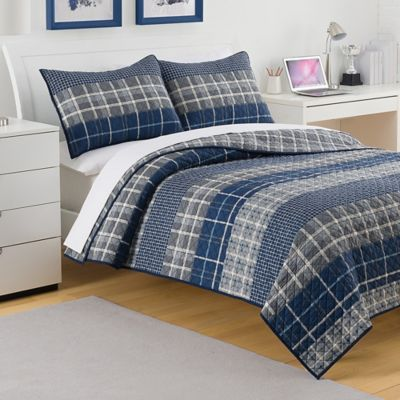 Navy and White Quilted Bedding