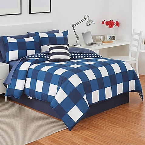 buy izod buffalo plaid reversible twin comforter set in navy white from bed bath beyond. Black Bedroom Furniture Sets. Home Design Ideas