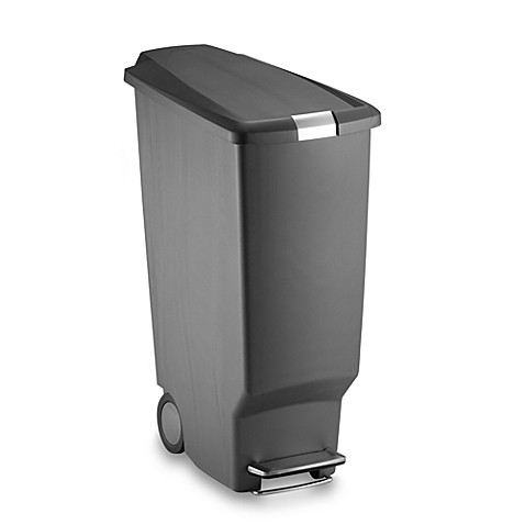 Buy simplehuman slim plastic 40 liter step on trash can in grey from bed bath beyond - Slim garbage cans for kitchen ...
