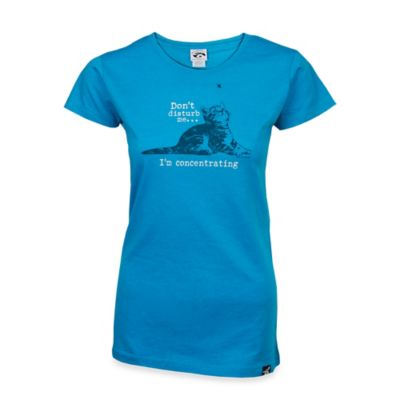 """Women's Small Cat """"Don't Disturb Me"""" Crew Neck T-Shirt in Teal"""