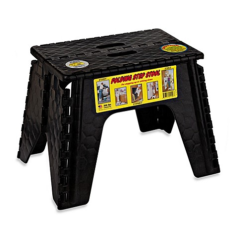 EZ Foldz 12-Inch Folding Step Stool in Black