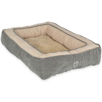 Gusset Low Bumper Polyester Floor Pillow Pet Bed In Grey Chevron/Beige