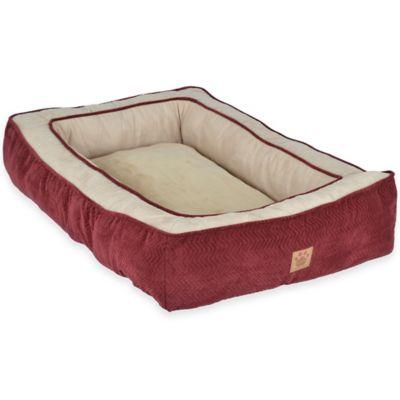 Gusset Low Bumper Polyester Floor Pillow Pet Bed In Burgundy Chevron/Beige