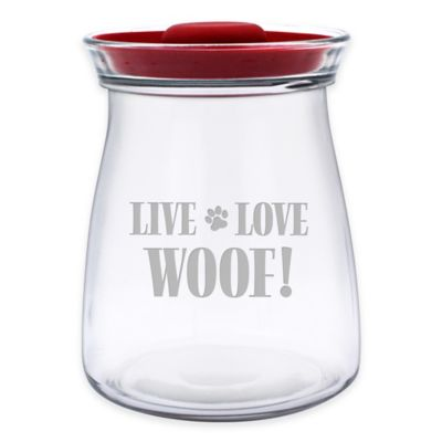 """Live Love Woof!"" 64 oz. Treat Jar with Lid in Red/Clear"