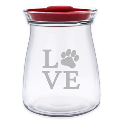 Love Paw 64 oz. Treat Jar with Lid in Red/Clear