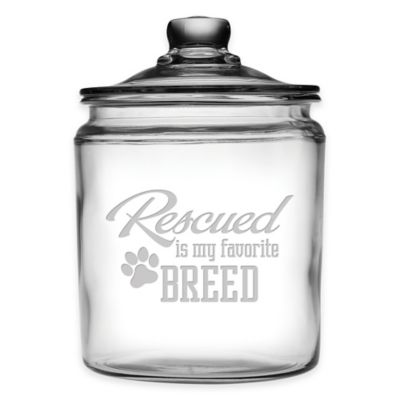 """Rescued is my Favorite Breed"" 64 oz. Treat Jar with Lid"