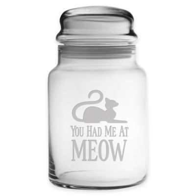 """You Had Me At Meow"" 31 oz. Small Treat Jar with Lid"