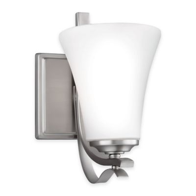 Feiss® Summerdale 1-Light Bath Wall Sconce in Satin Nickel with LED Bulb