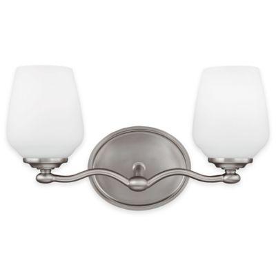 Feiss® Vintner 2-Light Vanity Fixture in Satin Nickel with CFL Bulbs