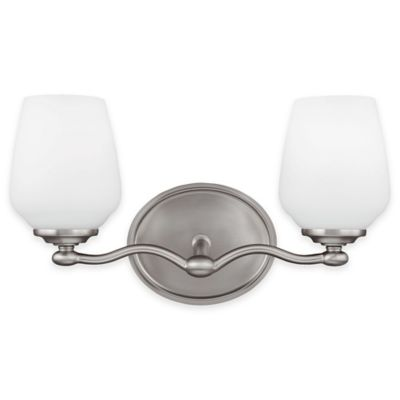 Feiss® Vintner 2-Light Vanity Fixture in Satin Nickel with LED Bulbs