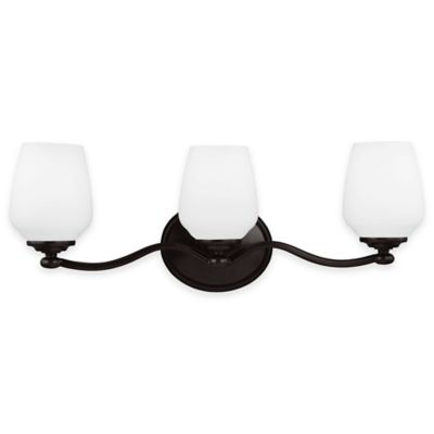 Feiss® Vintner 3-Light Vanity Fixture in Heritage Bronze with LED Bulbs