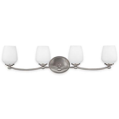 Feiss® Vintner 4-Light Vanity Fixture in Satin Nickel with CFL Bulbs
