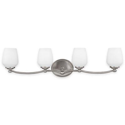 Feiss® Vintner 4-Light Vanity Fixture in Satin Nickel with LED Bulbs