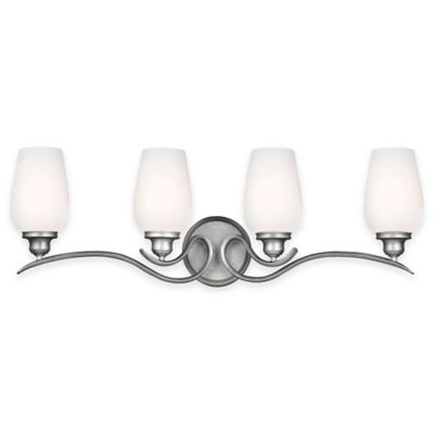 Feiss® Standish 4-Light Vanity Fixture in Heritage Silver with CFL Bulbs