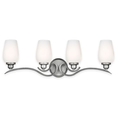 Feiss® Standish 4-Light Vanity Fixture in Heritage Silver with LED Bulbs