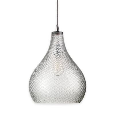 Jamie Young Large Curved Cut Glass 1-Light Pendant in Clear