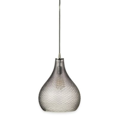 Jamie Young Large Curved Cut Glass 1-Light Pendant in Grey