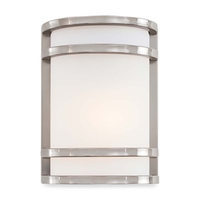 Minka Lavery® Bay View™ 9.5-Inch 1-Light Wall-Mount Outdoor Sconce in Brushed Steel