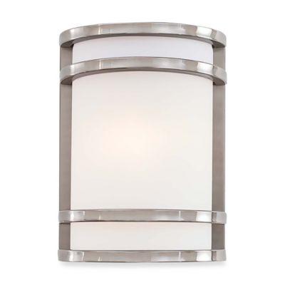 Minka Lavery® Bay View™ 9.5-Inch 1-Light Wall-Mount Outdoor Pocket Lantern in Brushed Steel