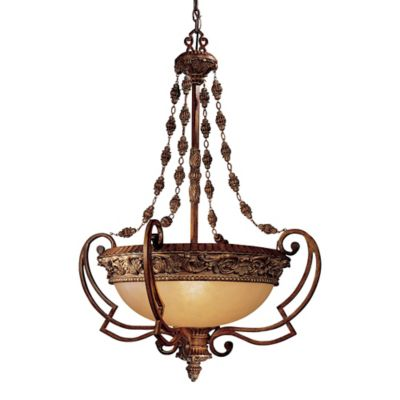 Minka Lavery® Belcaro 4-Light Pendant Light in Walnut with Aged Champagne Glass Shade