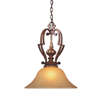 Minka Lavery® Belcaro Pendant Light in Walnut with Aged Champagne Glass Shade