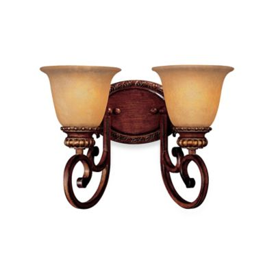 Minka Lavery® Belcaro™ 10.25-Inch 2-Light Wall-Mount Bath Fixture in Walnut with Glass Shade