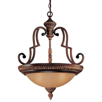 Minka Lavery® Belcaro 3-Light Pendant Light in Walnut with Aged Champagne Glass Shade